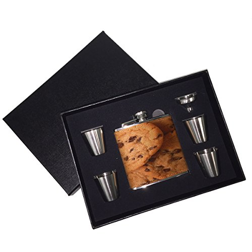 (Sunshine Cases - Chocolate Chip Cookies Leather Liquor Whiskey Flask Gift Set)