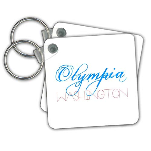 Alexis Design - American Cities - Olympia, Washington patriotic, decorative, blue, red text on white - Key Chains - set of 2 Key Chains (kc_294817_1)