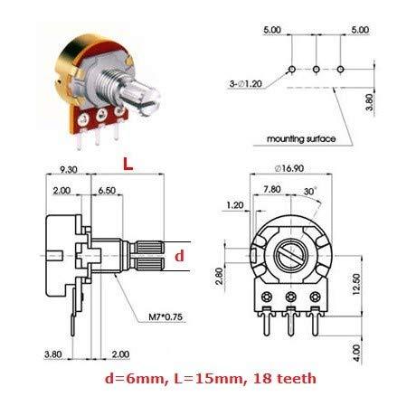 2a1, L: 15mm Ecc 16mm 1mc Potentiom/ètre Reverse Log Mono