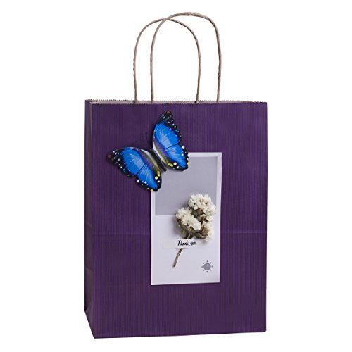 Purple Gift Bags 8x4.25x10.5 Inches 100Pcs BagDream Paper Bags with Handles Bulk, Shopping Bags Kraft Bags Retail Bags Craft Bags 100% Recyclable Paper Gift Bags