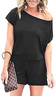 ANRABESS Women's Summer Solid Jumpsuit Casual Loose Short Sleeve Jumpsuit Rompers with Pockets Elastic Wai