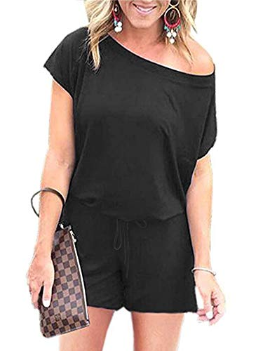 ANRABESS Women Black Rompers Off The Shoulder Short Sleeve Summer Casual Jumper Rompers with Pockets DXJheise-XL WFF03 ()
