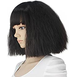 eNilecor Short Fluffy Bob Kinky Straight Hair Wigs with Bangs Synthetic Heat Resistant Women Fashion Hairstyles Custom Cosplay Party Wigs + Wig Cap?Black