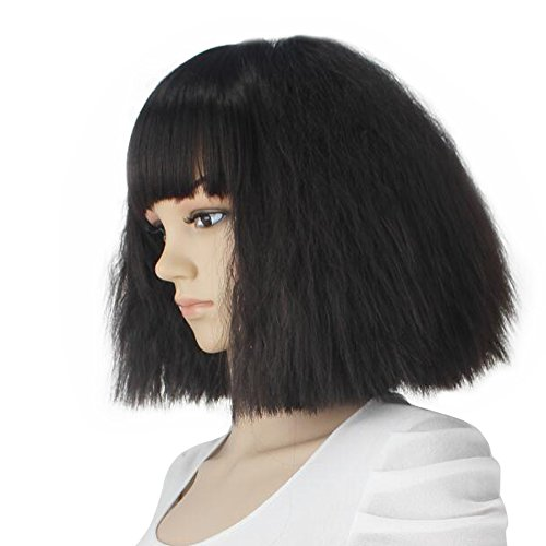 Short Synthetic Wig (eNilecor Short Fluffy Bob Kinky Straight Hair Wigs with Bangs Synthetic Heat Resistant Women Fashion Hairstyles Custom Cosplay Party Wigs + Wig Cap?Black))