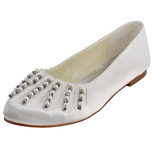 Minitoo GYMZ688 Womens Beading Satin Evening Party Prom Bridal Wedding Shoes Pumps Sandals Flatfs Ivory-1.5cm Heel OHOQS