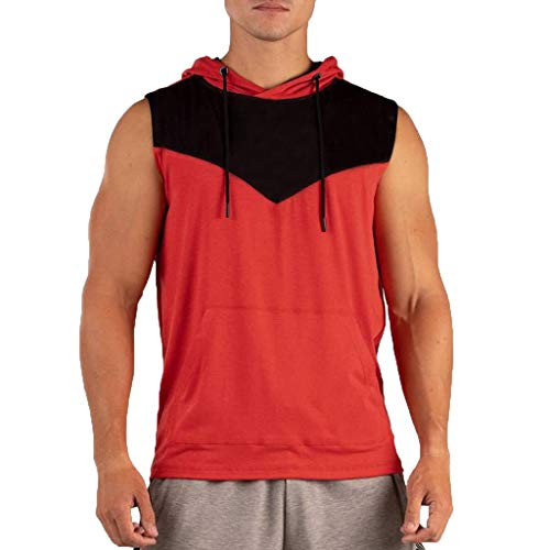 iHPH7 Tank Tops Mens Sleeveless Shirt for Gym Sports Fashion Fitness Vest Comfortable Sport Cap Blouse Top XXXL Red ()