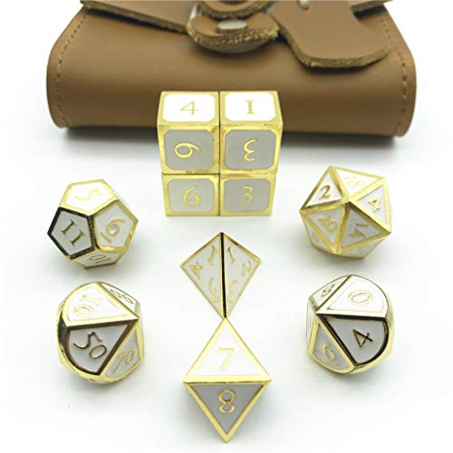 Momostar RPG Solid Metal Polyhedral Dice for Dungeons and Dragons, Pathfinder and Other Games. (Set of 10+Yellow PU Box/Gold & White)