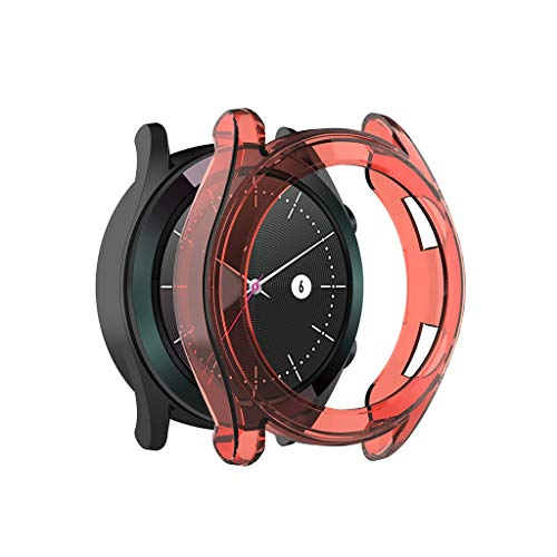 ( Orcbee  _Clear Thin TPU Protector Bumper Watch Frame Case Cover for Huawei Watch GT 42mm (Red) )