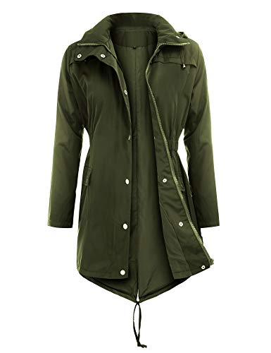Uniboutique Raincoats Waterproof Lightweight Rain Jacket Active Outdoor Hooded Women's Trench Coats,Army Green,Small
