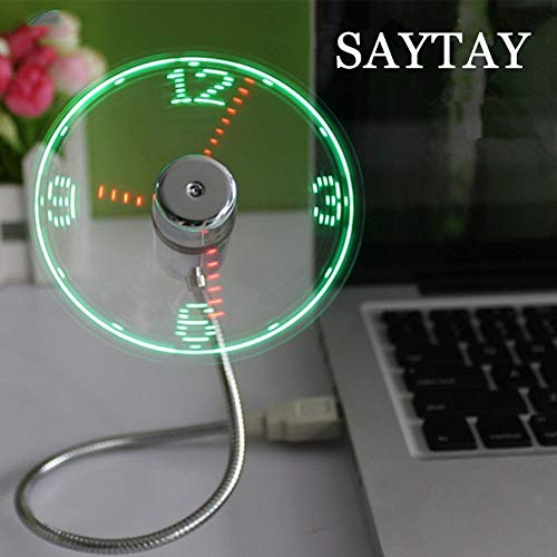 USB-LED-Clock-Fan-SAYTAY-Mobile-USB-Fan-Portable-Cooling-Mini-USB-Quiet-Gooseneck-Fan-for-Office-Home-Travel