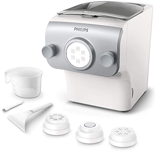 Philips Avance Collection Automatic Pasta and Noodle Maker Plus with 4 Interchangeable Pasta Shape Plates, Silver - HR2375/06 (Latest Version, 2019 Release) (Best Pasta Machine 2019)