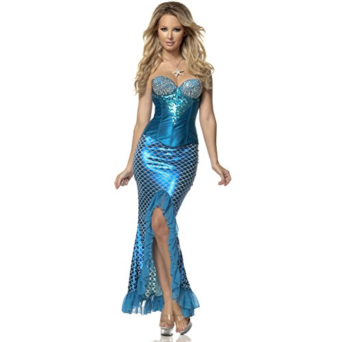 Mystery House Costumes Mermaid Deluxe, Blue, X-Large