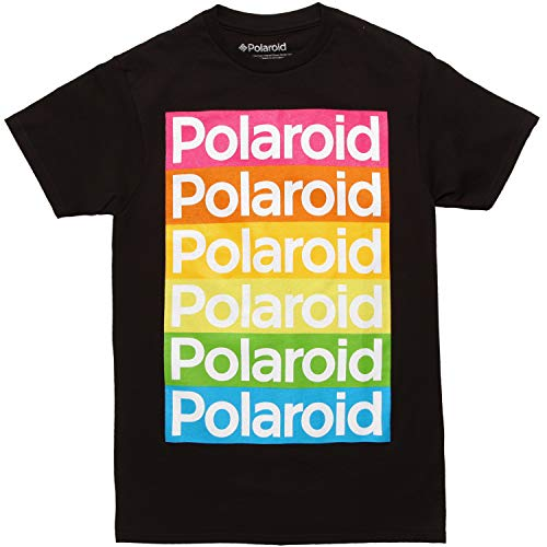 (Polaroid Color Logo Stack Adult T-Shirt - Black (XXX-Large))