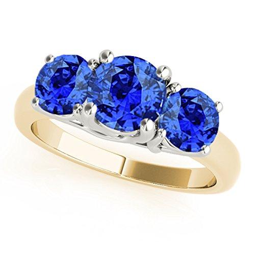 MauliJewels 1 Ct. Ttw 3 Stone Two-Tone Tanzanite Ring in 14K Yellow & White Gold - Tone Ring Tanzanite Two