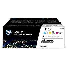 HP 410A Toner Cartridge Cyan, Yellow & Magenta, 3 Toner Cartridges (CF411A, CF412A, CF413A) for HP Color LaserJet Pro M452dn, M452dw, M452nw, MFP M477fdn, MFP M477fdw, MFP M477fnw