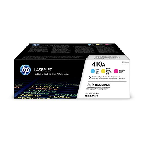 HP 410A Toner Cartridge Cyan, Yellow & Magenta, 3 Toner Cartridges (CF411A, CF412A, CF413A) for HP Color LaserJet Pro M452dn, M452dw, M452nw, MFP M377dw, MFP M477fdn, MFP M477fdw, MFP M477fnw by HP