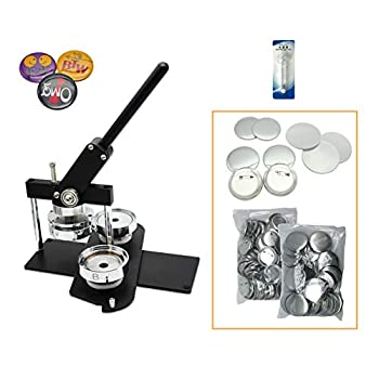 Image of Buttons ChiButtons Kit 75mm (3') Button Maker Badge Press Machine-B400 + 75mm Round Die Moulds + 100 Set Pin Button Components + Adjustable Circle Cutter (Black-New)