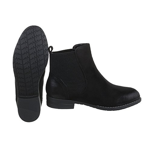 Ital-Design Chelsea Boots Damenschuhe Chelsea Boots Blockabsatz Blockabsatz Stiefeletten Schwarz ZY9130