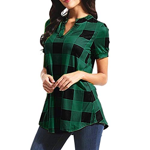 - Rambling New Womens Casual Short Sleeve V Neck Irregular Hem Tunic Top Plaid Blouse Shirt Green