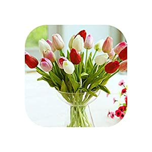 The fairy-Fake flower 31Pcs/Lot Pu Tulips Artificial Flowers Real Touch Artificial Mini Tulip for Home Wedding Decoration Flowers 12