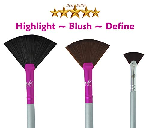 Makeup Highlighting Fan Brush Cheeks - Bronzers an Highlighter Kit Nose & Brow Premium Fan Brushes For Makeup Plush Fan Brushes Small Firm Fan Brush Best For Defined Areas And Lip brush -