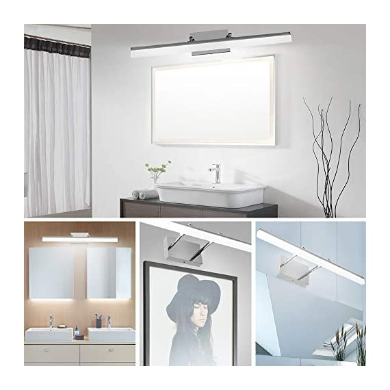 LEDMO Modern LED Bathroom Vanity Lights Retractable Cool White 6000K Stainless Steel Vanity Wall Light Adjustable Over Mirror Long LED Bathroom Lighting Fixtures(14W, 24Inch) - Retractable Design(6.1 to 8.9 inch),suitable for mirror cabinets,medicine cabinet Adjustable light direction-With the 180° rotatable hinge,adjust the light direction as you want Modern LED vanity lights Easy installation,with US Junction BOX,save your time. - bathroom-lights, bathroom-fixtures-hardware, bathroom - 41dw5jIa94L. SS570  -