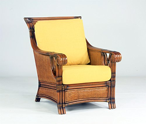 (South Sea Rattan Pacifica Chair in Walnut Finish, Dening Greige Natural)