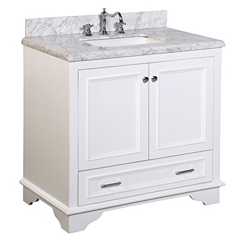 Kitchen Bath Collection KBC1236WTCARR Nantucket Bathroom Vanity with Marble Countertop, Cabinet with Soft Close Function and Undermount Ceramic Sink, Carrara/White, 36'