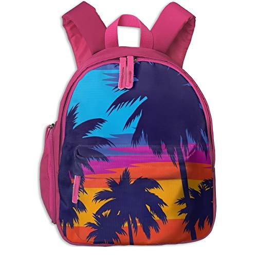 Coconut Tree 3D Mini Pink Blue Choice Children School Bag Book Backpack Outdoor Travel Pocket Double Zipper