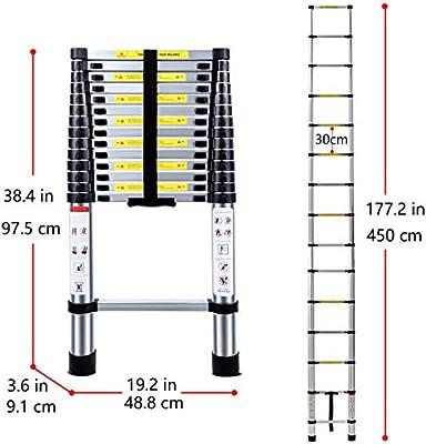 Jason Escalera telescópica extensible de alta calidad de carga máxima de aluminio para multipropósito (14.5FT) 4.4M: Amazon.es: Hogar
