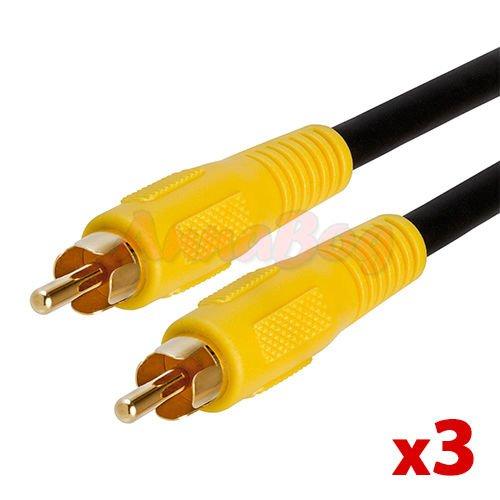 3x 12 FT RCA Digital Coax Coaxial Audio Video Cable Subwoofer Cord 12 FT Lot