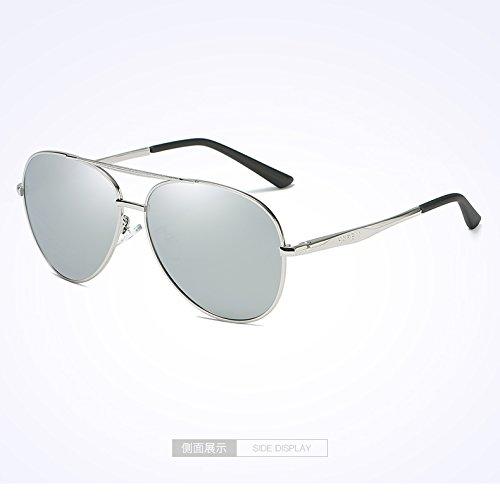 espejo conductor de hombre hombres Gafas de Silver plata de KOMNY de sol nuevo sol blue masculina chip marea caja retrovisor masculinas la Espejo gafas de gafas de polarizadas Film Mercury Box sol sol Gafas 67axqXw