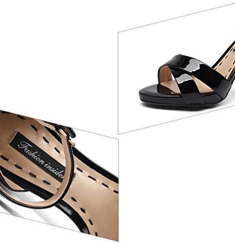 Black vera alto New Fashion Style con con tacco Elegant sandali in in per Europa tacco Top e pelle Sweet Sexy Sandali donna Jazs® america Fashion 6Sqtn