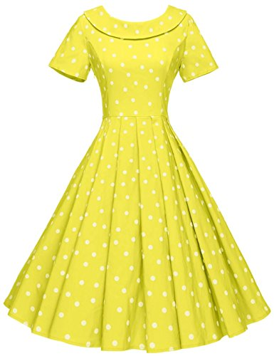GownTown Women's 1950s Polka Dot Vintage Dresses Audrey Hepburn Style Party - Womens Dot Polka Dress In