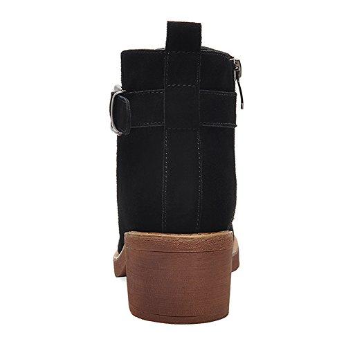 Belt BERTERI Black Side Bootie Boot Women's Heel Buckle Zipper Square Toe Round Owq8xrOU