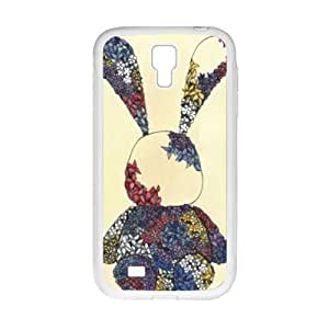 Cute rabbit dreessed flower cloth lovely personalized creative clear protective cell phone case for Samsung Galaxy S4