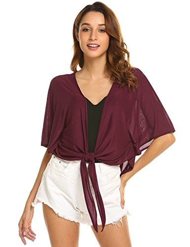 Zeagoo Women's Casual 3/4 Sleeve Tie Front Loose Sheer Shrug Short Cardigan (Wine Red, Large)