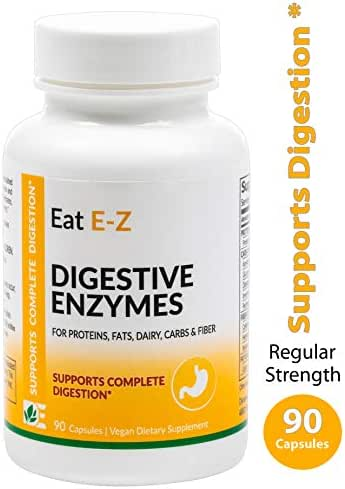 Eat E-Z Original (90 Vegan Capsules) Complete Digestive Enzyme Supplement; Anti-Bloating; Gut Health.