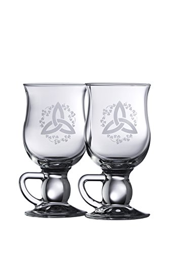 Galway Crystal Trinity Knot Shamrock Latte (1 Pair), Clear (Shamrock Coffee)