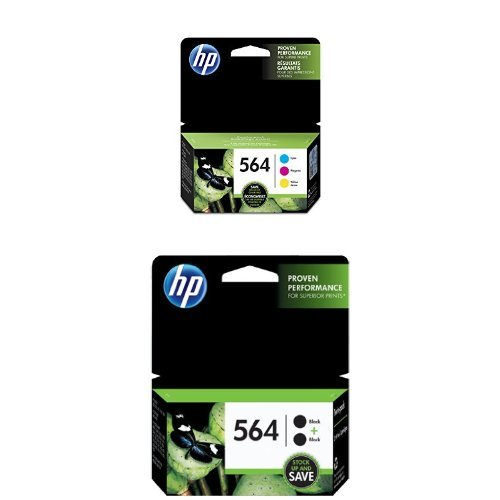 HP 564 Cyan, Magenta & Yellow Original Ink Cartridges, 3 pack (N9H57FN) and HP 564 Black Original Ink Cartridges, 2 pack (C2P51FN) Bundle