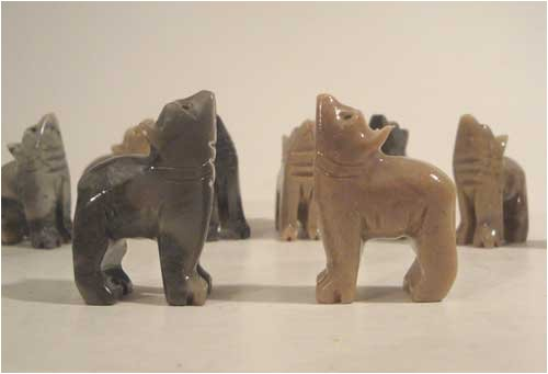 (10 Piece Hand Carved Soapstone Miniature Wolf Figurines 1.5
