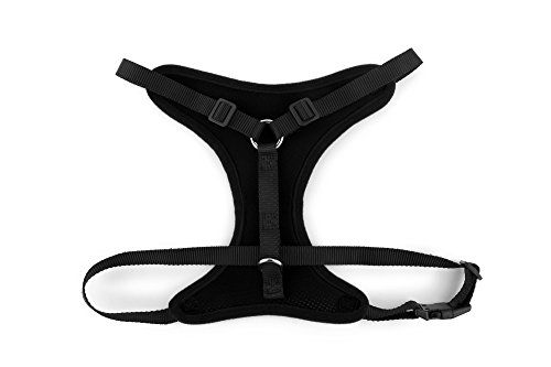 Sofis-Dog-Car-Harness-Plus-BONUS-Connector-Strap-Attaches-to-Vehicles-Seat-Belt-Receptacle-Walking-or-Travel-Harness-Strong-Nylon-Straps-Vest-is-Breathable-Nylon-Mesh-Material-Small-Black
