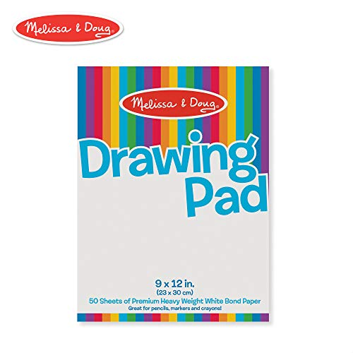 Melissa & Doug Drawing Paper Pad (Sturdy Coloring Paper for Kids, Pages Tear Cleanly, 50 Pages, 9