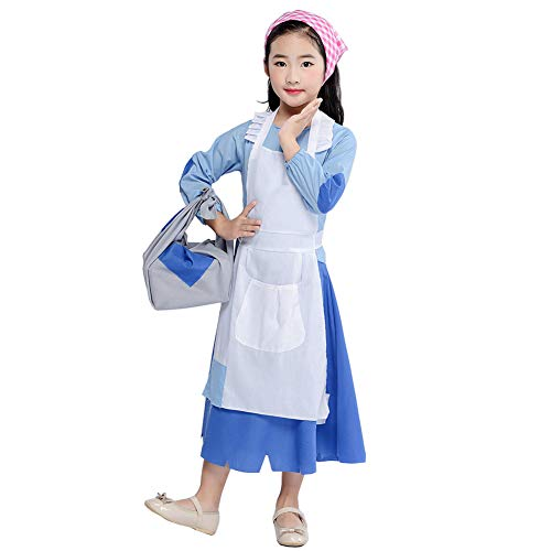 Girl Kids Poor Colonial Costume Pioneer Pilgrim Maid Dress Halloween Cosplay Costume Accessories Outfit Toddlers Christmas Fairy Tale (Blue, Tag L/4-6 Years(45-49