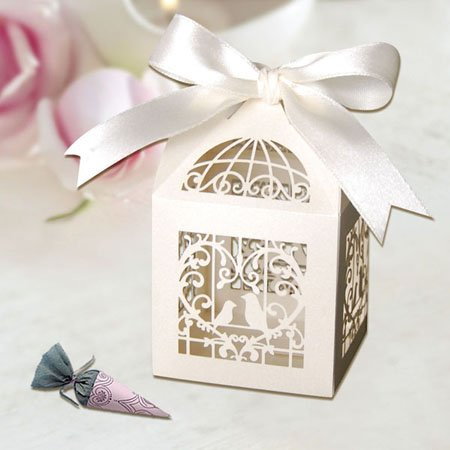 RedLeaves Birds Heart Favor boxes 120PCS (pearlescent Ivory)