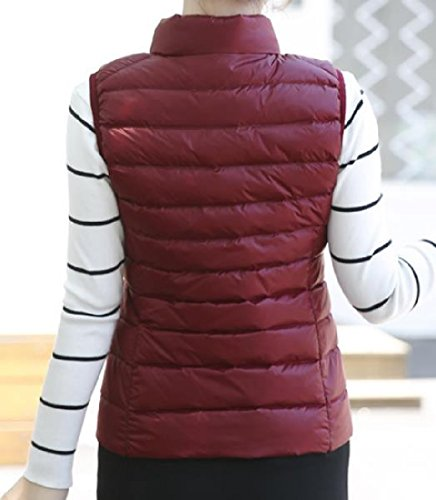 Jacket Zip Solid Parka up Sleeveless AngelSpace Red Pockets Womens Wine Stand Collar x4CqS7