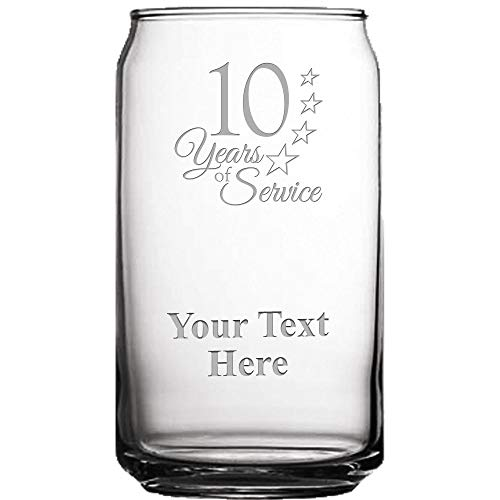 10 Years of Service Custom Engraved Beer Can Glass, 19 1/2 oz Personalized Employee Beer Glass Gift Prime