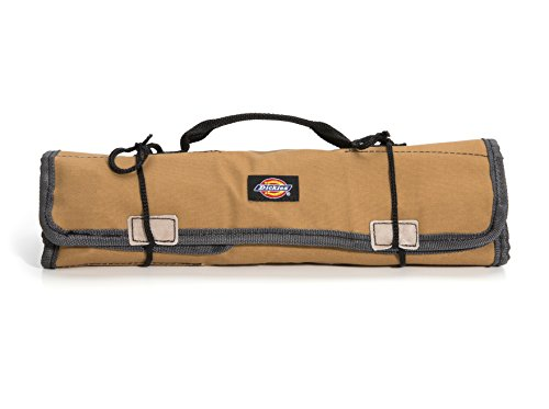 Knife Bucket (Dickies Work Gear - Socket Organizer - Large Wrench Roll - 57006 - Durable Canvas Construction - 23 Pockets - Reinforced Ties - Protective Flaps - Grey/Tan - 15.2 oz.)
