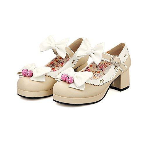 Lucksender Femmes Super Mignon Cheville Sangle Chunky Talon Pompes Chaussures Avec Bowknot Beige