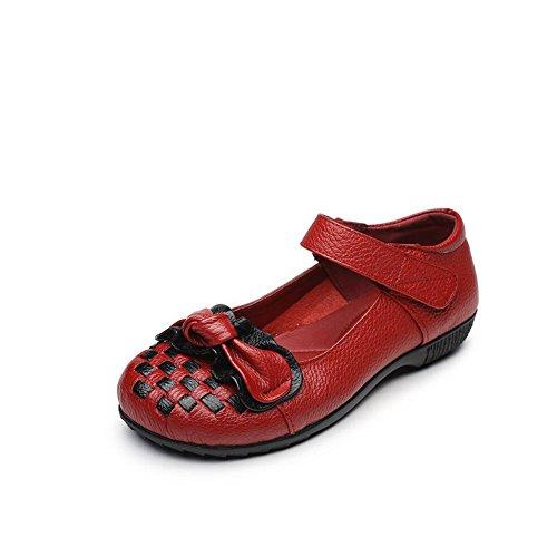 Zapatos de mujer de fondo grueso Zapatos de madre de tacón alto Viento nacional Primavera y otoño Ocio Damas Zapatos de cuero hechos a mano individuales Zapatos planos de mujer de punto ( Color : Rojo Rojo